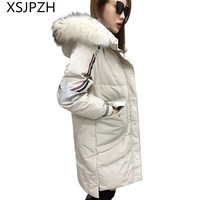 XSJPZH 2018 Новая женская зимняя куртка пуховик длинный отрезок печатных с капюшоном выше колена утолщение кос волос воротник пальто LB381