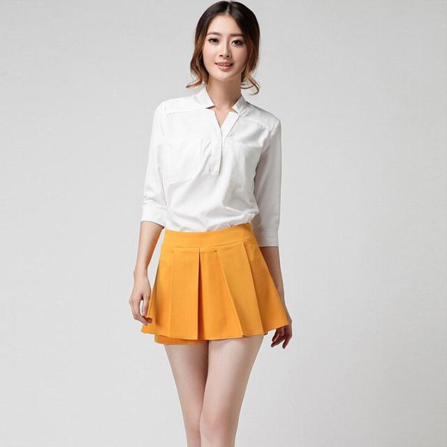 Verano de las mujeres mini shorts faldas color sólido de las mujeres flare hem Skorts de la Falda Señoras de la Oficina OL Casual Mini Shorts 6 Colores KZ693-S