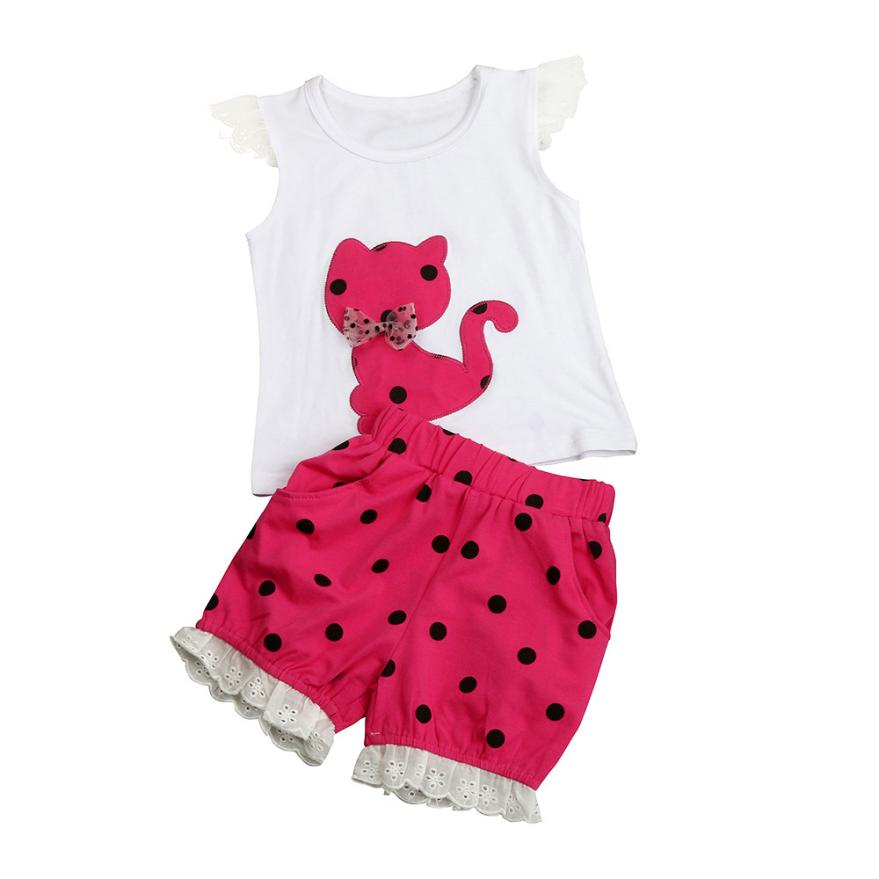 ARLONEET Summer Baby Girls Clothing Set Children Bow Cat Shirt+Shorts Clothes Set Suit Dropshipping Mar15
