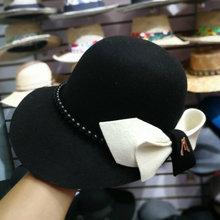 01809 baoliu9 3 bowknot % ขนสัตว์ Pearl Lady ฤดูหนาว fedoras หมวกผู้หญิงหมวก