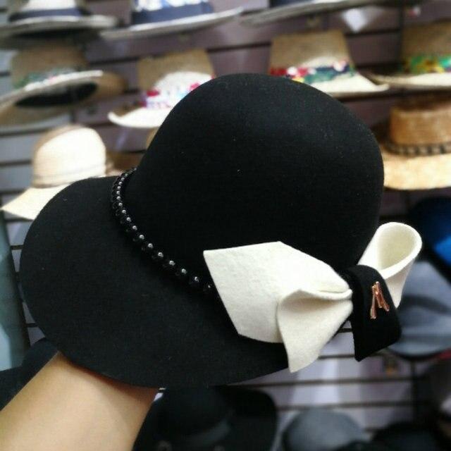01809 baoliu9 3 bowknot % צמר פרל ליידי חורף מגבעות לבד כובע נשים פנאי כובע