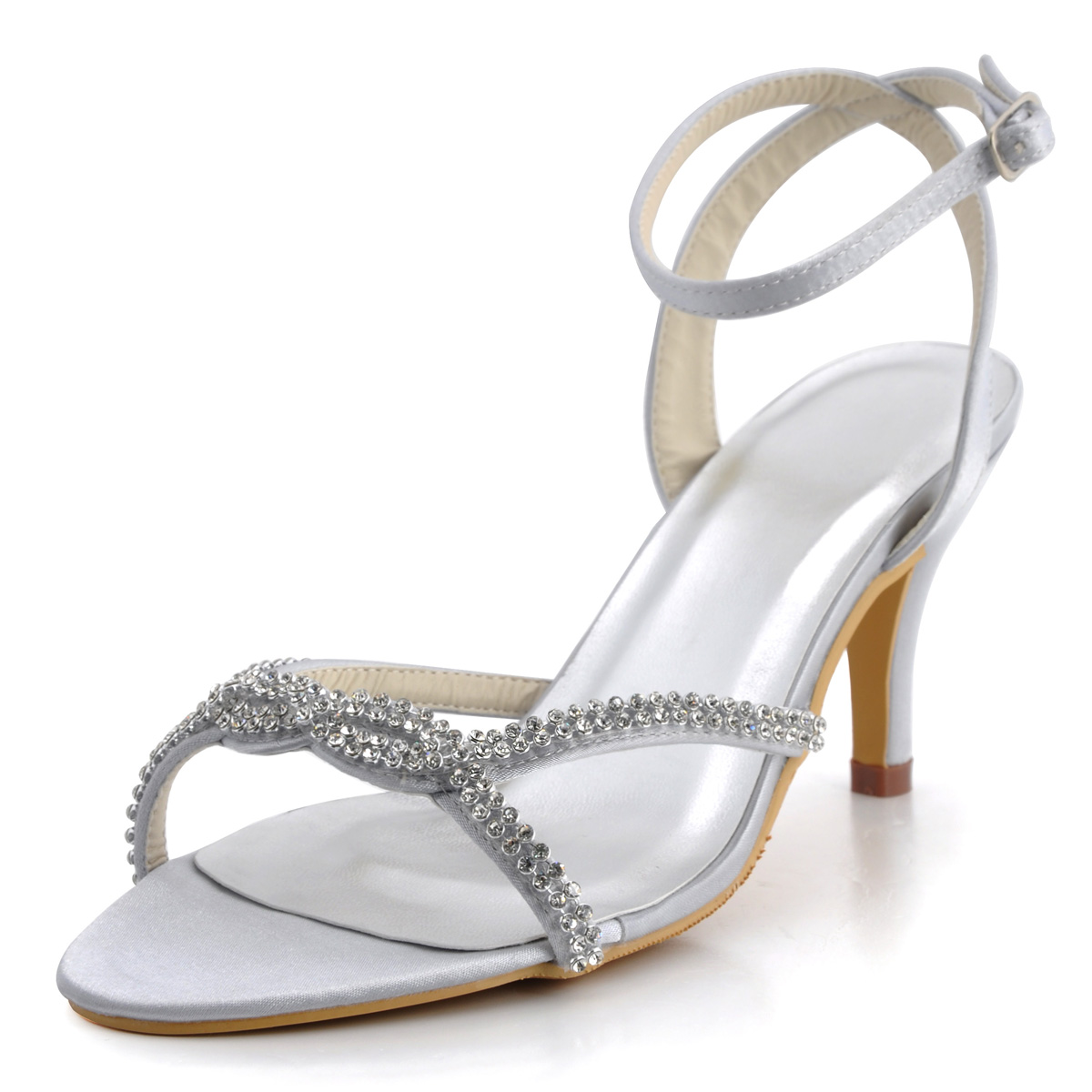 Silver sandals or shoes - Woman Summer High Heel Sandals Ep2056 Silver Open Toe Rhinestones Satin Bride Bridesmaid Wedding Bridal Party