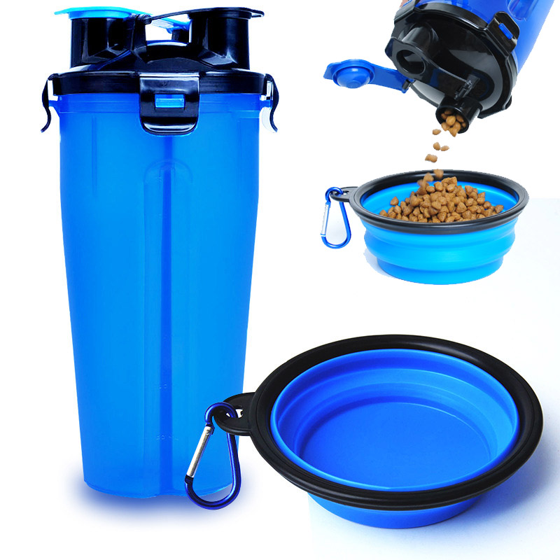 Dog Feeder 2 in 1 Water Food Outdoor Portable Bottle Pet Bowls Silicone folding bowls dog food cups feeder