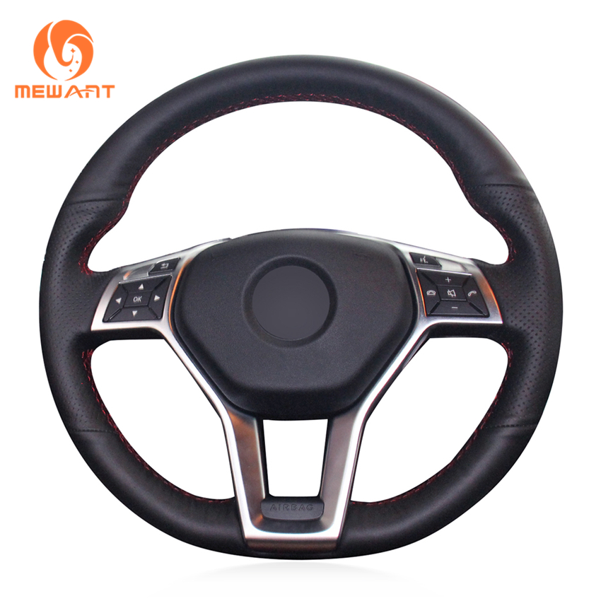 MEWANT Black Genuine Leather Car Steering Wheel Cover for Mercedes Benz A Class 2013 2015 CLA
