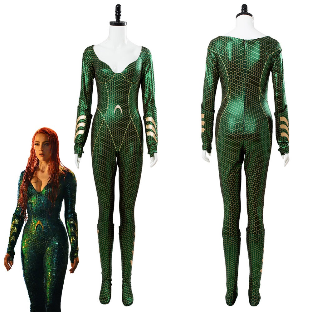 2018 Aquaman Mera Cosplay Costume Outfit Jumpsuit Suit Adult Women Halloween Carnival Cosplay Costume