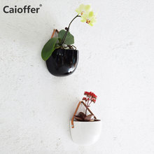 Caioffer Durable Wall Mounted Hanging Ceramic Vase for Home Garden Living Room Decoration Artificial Flower Holder Plant 2 Pots