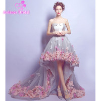 2017 New High Low Evening Dresses Sleeveless Strapless Tulle Hand Made Crystal Beading Appliques Flowers Prom