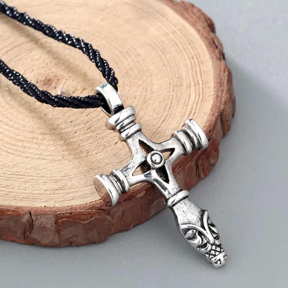 CHENGXUN Chúa Giêsu Túi Đeo Chéo Nam Celtic Cổ Viking của Odin Choker Collier Đen Dây Chuỗi Trang Sức