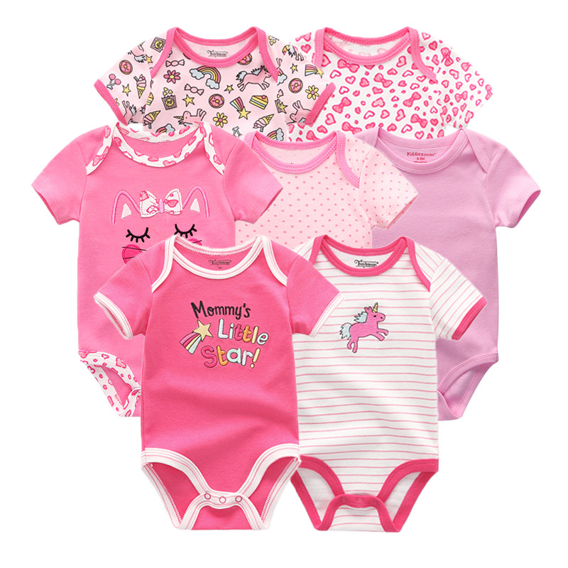 Image 2 - 2019 7PCS/lot Newborn Baby Girl Clothes Baby Boy Clothes Cotton Unicorn Bodysuits Jumpsuit Ropa bebe Short Sleeve Black White-in Rompers from Mother & Kids