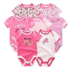 Image 2 - Mono de algodón para recién nacido, Ropa de manga corta para bebé de 0 a 12M, lote de 7 unidades, 2020
