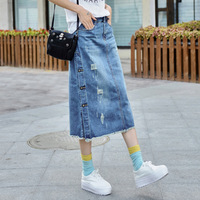 New Plus Size Breasted Midi Pencil Relaxed Casual Denim Skirts Long Spring Women Skirt