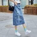 Nueva Más Tamaño Breasted Casual Denim Jeans Faldas Largas Maxi Primavera Verano Para Mujer Falda Femenina faldas mujer 2016