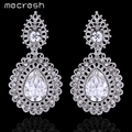 Mecresh Crystal Teardrop Dangle Drop Long Earrings Elegant Charming Silver Plated Flower Wedding Brincos for Women MEH730