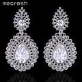 Mecresh Crystal Teardrop Dangle Drop Long Earrings Elegant Charming Silver Plated Flower Wedding Brincos for Women MEH730