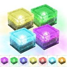BEIAIDI Солнечный Путь подземный похороненный кирпичный светильник 1 Led креативный стеклянный камень кубик льда кирпич Солнечный сад подъездная дорожка светильник безопасности