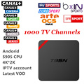 Android Quad Core Tv Box iptv Con 1 Año 1000 Árabe Europa francés Cuenta IPTV En Vivo TV Canal plus Kodi Precargado Smart Tv Caja