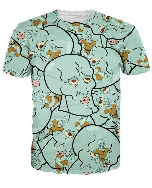 Красивый Squidward напечатаны 2015 летние хип-хоп майка мультфильм 3d майка мужчины / женщины топы мода майка бесплатная доставка