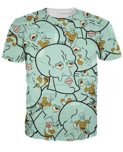 Bonito lula impresso 2015 verão hip hop t shirt dos desenhos animados 3d t camisa homens / mulheres Tops moda t camisa frete grátis