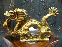 china Solid Brass Zodiac running Dragon Holding Pearl Ball fengshui lucky statue decoration metal handicraft