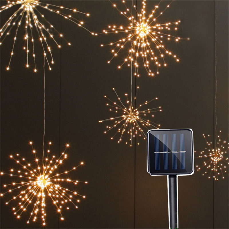 Solar Powered Hanging Starburst String Light 100leds/150Leds DIY Copper Fairy Garland Christmas Wedding Party Twinkle Lights 200 leds diy hanging starburst string light solar powered firework copper fairy garland christmas wedding twinkle lights ca79