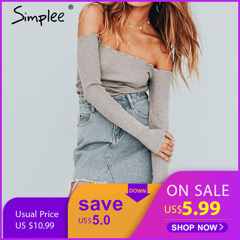 Simplee Sexy off shoulder knitted   top   tees Women black bustier   top   Party white   tops     tank   slim female camisole