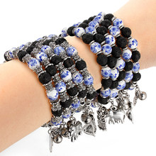 Hot Sale Vintage Elephant Owl Charms Bracelets&Bangles For Unisex Ceramics Lava Natural Stone Bead Bracelet Jewelry Gifts(China)