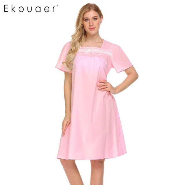 c6d98f47fa Ekouaer Women Casual Sleepwear Short Sleeve 100% Cotton Knee Length  Nightgown Lace Trim Sleep Dress Nightwear Female Homewear
