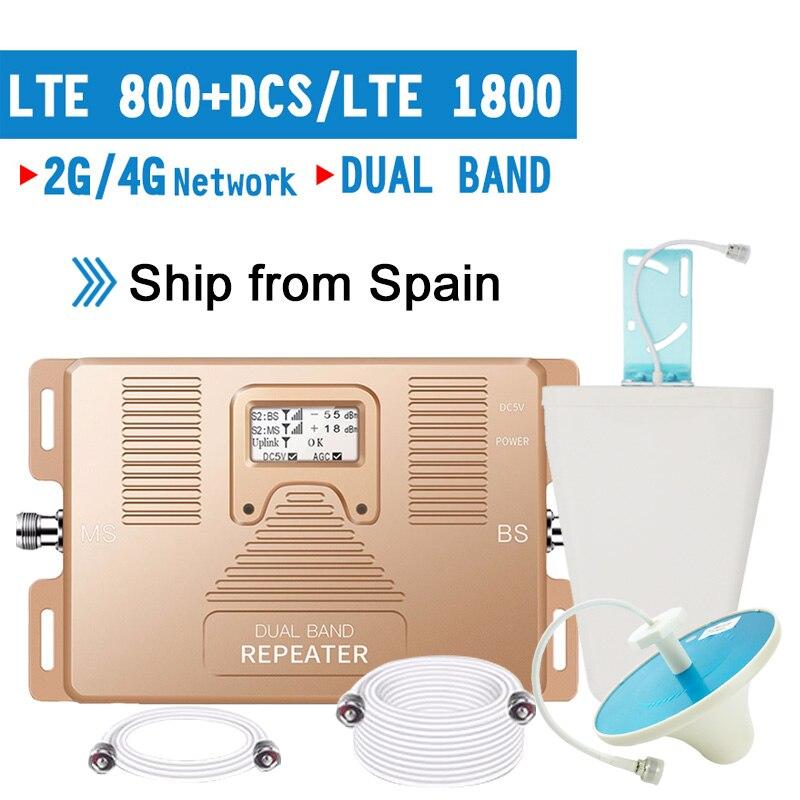 Smart 4G LTE 800 B20 LTE 1800 B3 Dual Band Cellular Signal Repeater 4G LTE Amplifier GSM 4G 800 1800 Moblie Booster Antenna Set