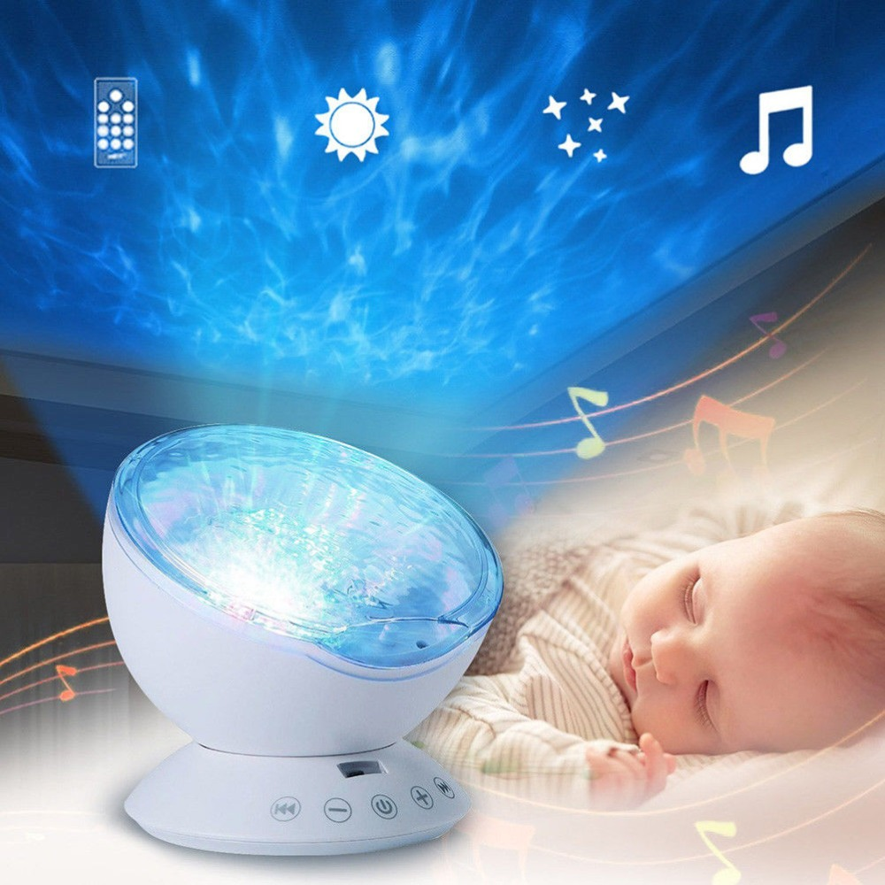 LED Star Projector Novelty Lighting Ocean Kids Baby Nursery Night Light Battery Operated Emergency Lamp+Music Player Best Gift