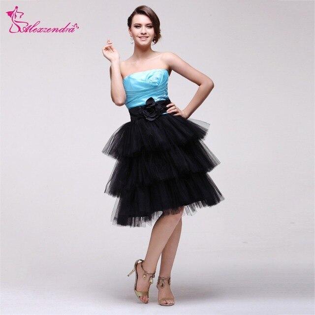 Alexzendra Blue Top Short Ruffles Prom Dresses Plus Size Strapless ...