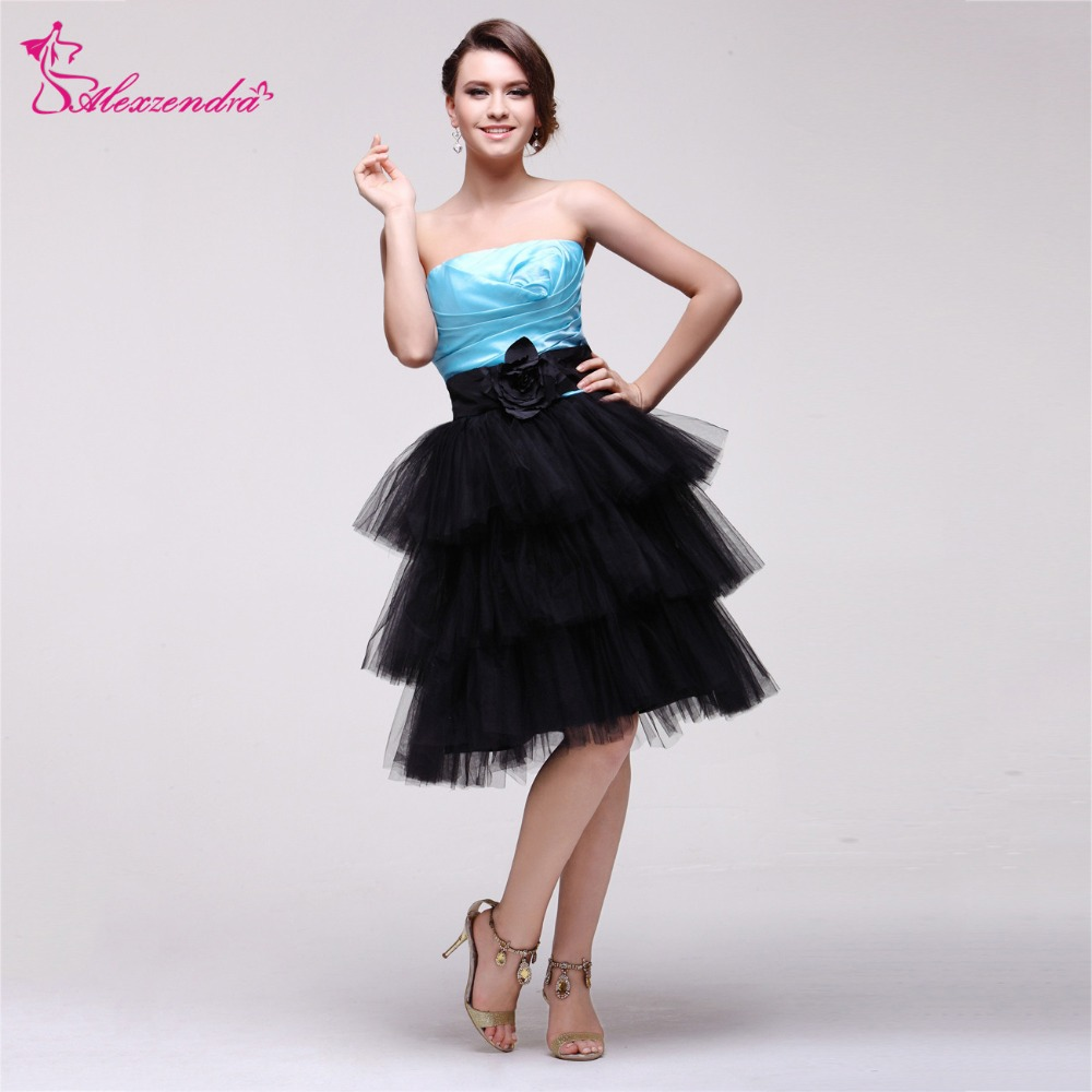 Alexzendra Blue Top Short Ruffles   Prom     Dresses   Plus Size Strapless Simple Birthday Party   Dress