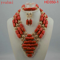 Coral Beads Statement Necklace Set Chunky Bib Beads African Jewelry Fashion Real Coral Necklace Set Dubai Free Shipping HD350 1