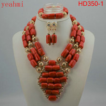 Coral Beads Statement Necklace Set Chunky Bib Beads African Jewelry Fashion Real Coral Necklace Set Dubai Free Shipping HD350-1