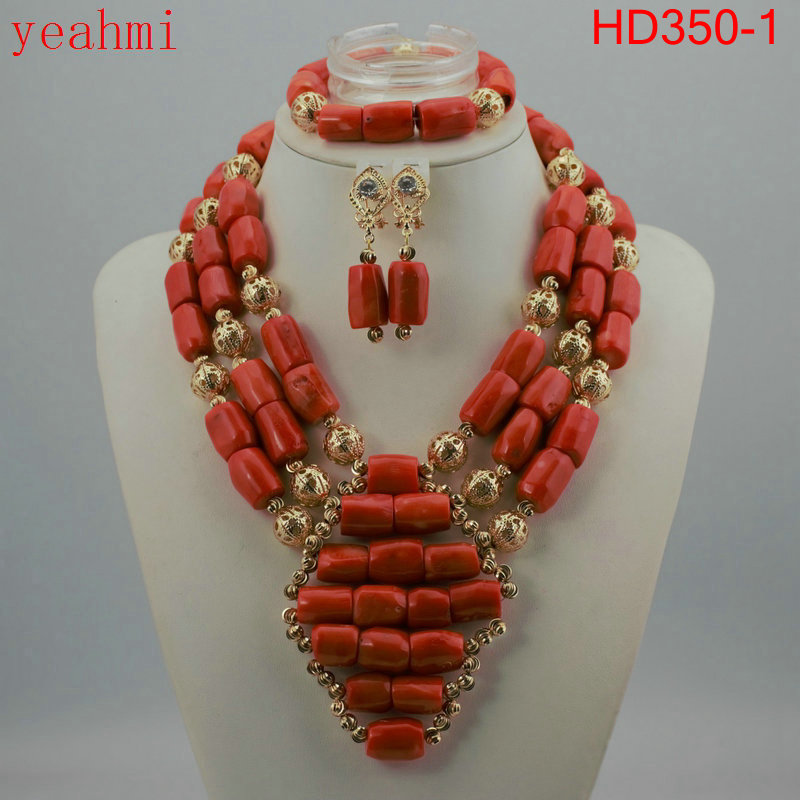 Coral Beads Statement Necklace Set Chunky Bib Beads African Jewelry Fashion Real Coral Necklace Set Dubai Free Shipping HD350-1 new fashion nigerian african wedding coral beads jewelry set chunky statement necklace set full beads free shipping cnr345