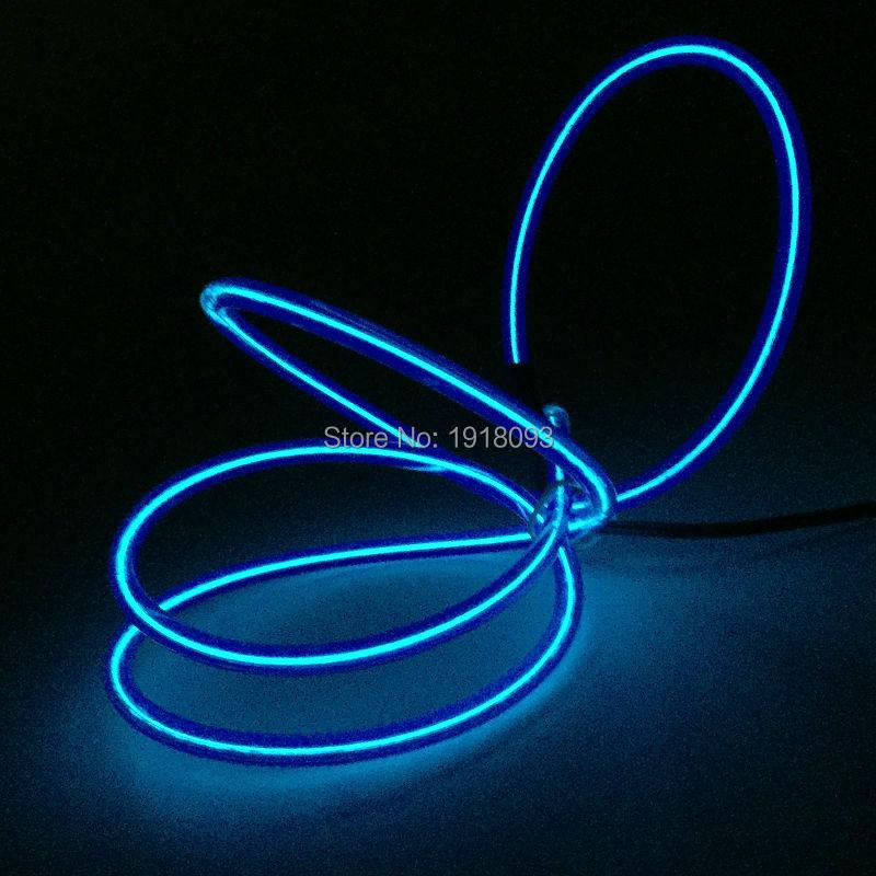 For Festival decoration Neon glow light Neon Light Glow Rope tape 5.0mm 1Meter Glowing EL Wire Blue Lights