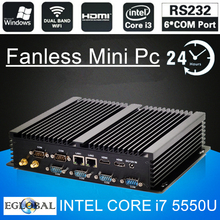Eglobal Fanless Industrial Mini PC Win10 Core i7 5550U 2*Intel Gigabit Lans 6*RS232 8*USB Micro Computer Linux 3G Wifi 2*HDMI