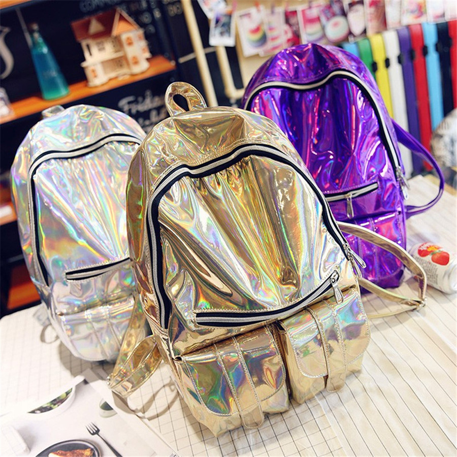 b0a553a1031f09 Fashion Women Men Silver Laser Backpack men's Bag leather Hologram  Multicolor Colorful Rainbow School Girl Metallic