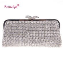 Fawziya Crystal Clutch Rhinestone Clutch Party Purse Evening Clutch Crystal Bow Clutch Purses And Handbags For Girls