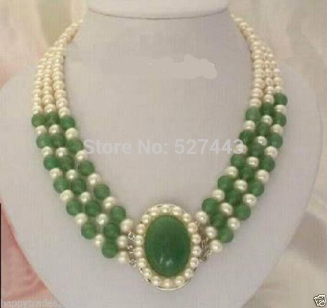 Beautiful Jewelry 7 8mm white Freshwater pearl and green gem stone Necklace