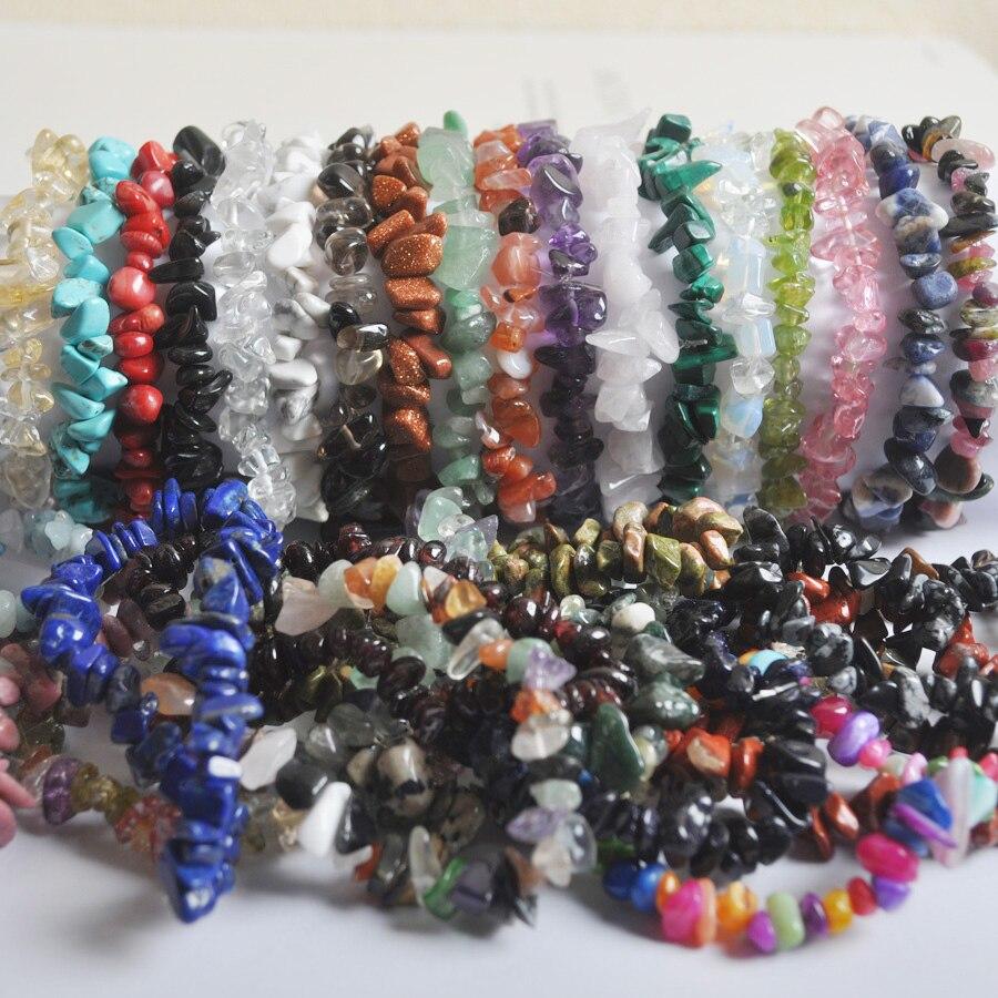Natural Mixed Stone Chip Beads Tourmaline Garnet Malachite Jewelry For Gift Stretch Bracelet 8 Inch 1 Pcs G669-g680 Removing Obstruction Bracelets & Bangles