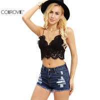 COLROVE Lace Insert Sexy 2016 New Summer Style Women Crop Tops Hollow Sleeveless Black Crochet Overall