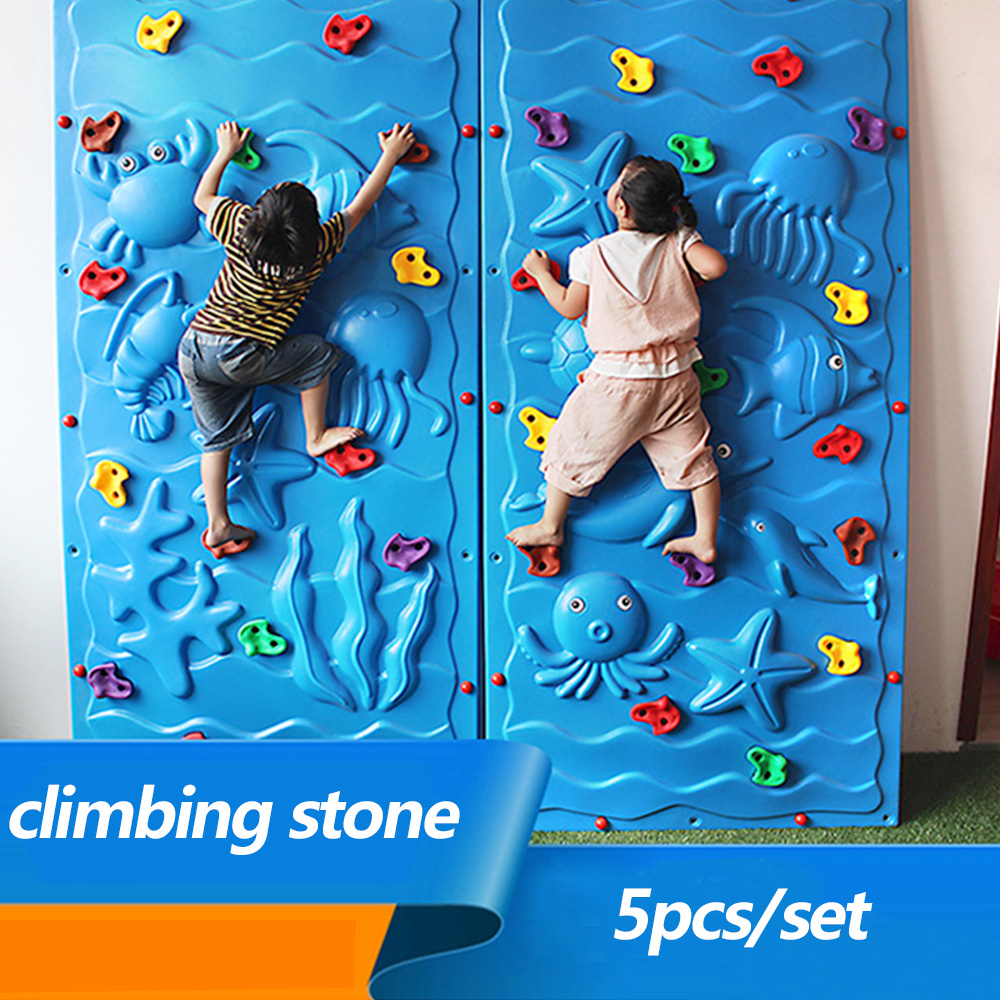 5pcs Set Plastic Climbing Wall Rock Holds Outdoor Toy Kits Stone Training Playing Outside
