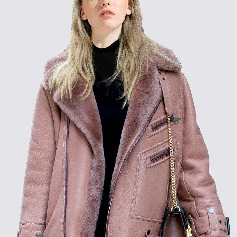 Imitation Pardessus Rembourré Nouvelle Mode Veste Femmes Gilrs Chaude Pinkish Vestes Manteau Fausse Nouveau Plus Pale Gray Manteaux Dames Cuir Fourrure En D'hiver fnaTvwx