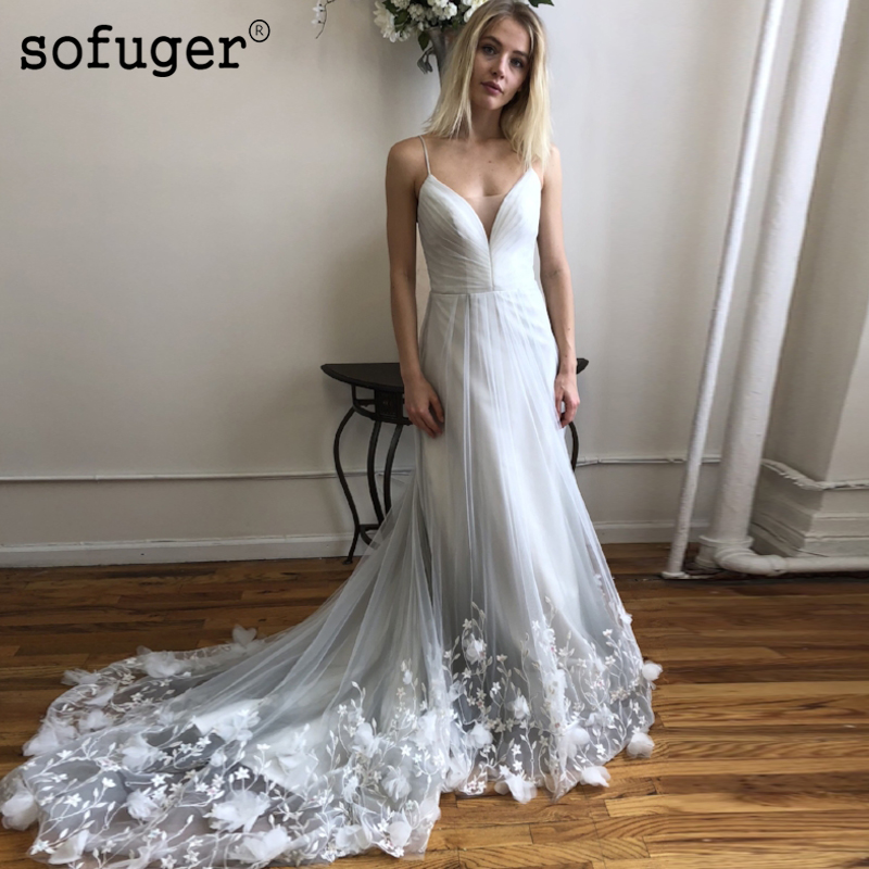 Sexy V Neck Tulle Lace Appliques Elegant Wedding Dress Robe De Mariee Sofuge Boho Dubai Arabic Abiti Da Sposa Long Dresses