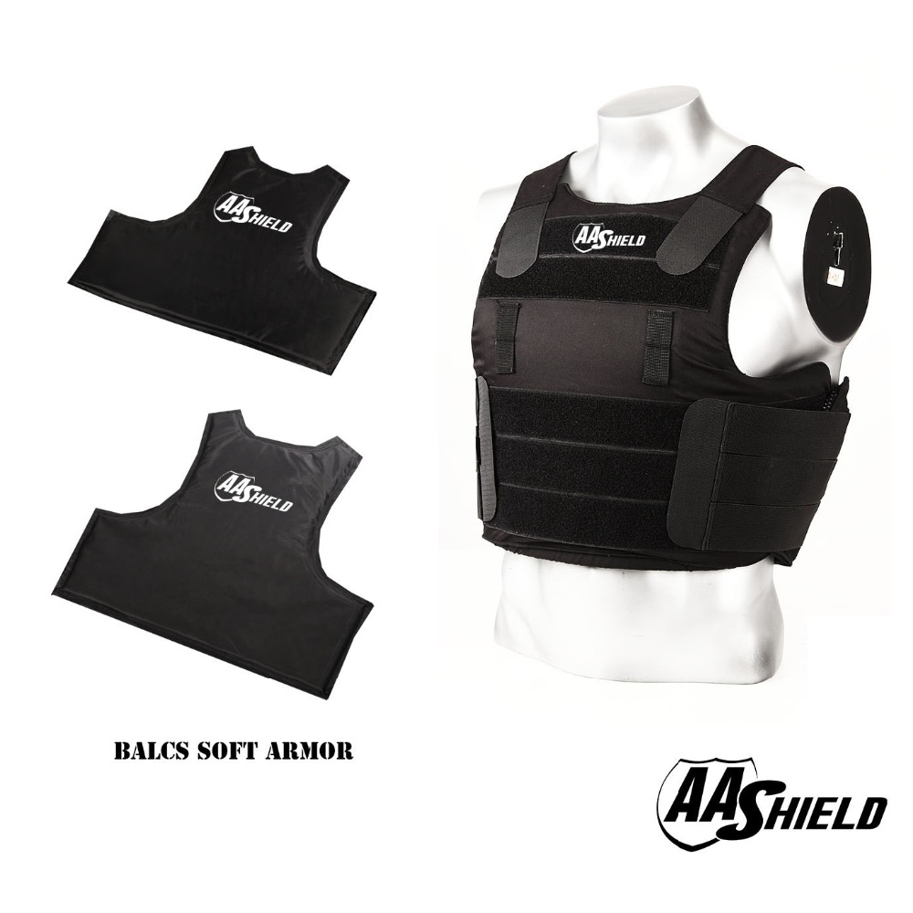 AA Shield BALCS Tactical Ballistic Vest Teijin Soft Body Armor Vest IIIA Carrier Kit Bullet Proof Vest Black Color Size M/L apc armadillo plate carrier ballistic tactical molle gear body armor 10x12 black bullet proof vest iiia soft armor plus kit
