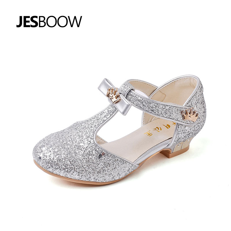 Children Bridesmaids Shoes Girls Sandals Glitter Crystal Bow Princess leather shoes Girls Casual Ballet dance Dress Shoes