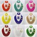 2016 Hot Design de casamento nigeriano Beads africanos Jewelry Set Red Crystal Beads colar Set jóias 8 camadas frete grátis AES447