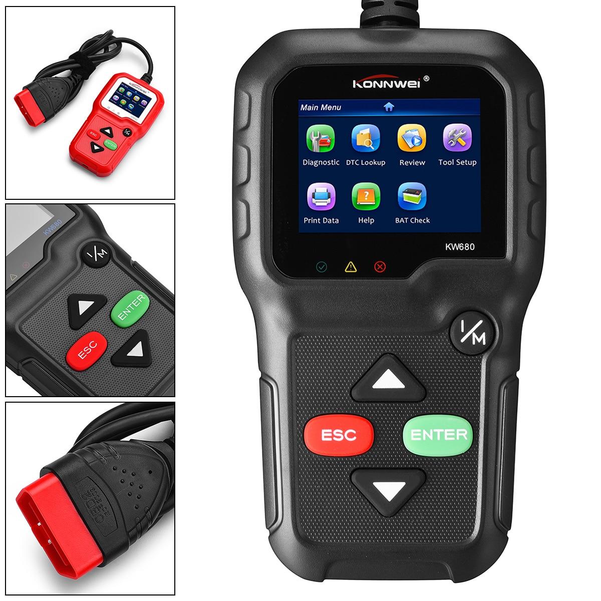 KONNWEI KW680 OBD 2 OBDII EOBD Автомобильный сканер полный диагностический инструмент Диагностический Сканер Поддержка восьми языков