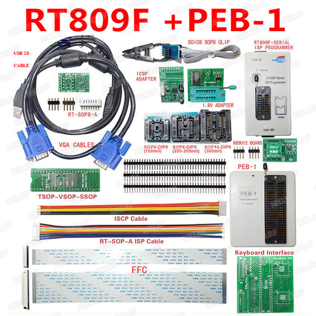 US $85 87 25% OFF NEW RT809F Programmer Electronic Kits LCD Universal EPROM  FLASH VGA ISP AVR GAL PIC Programmer + PEB 1 Expansion board+FFC Line-in