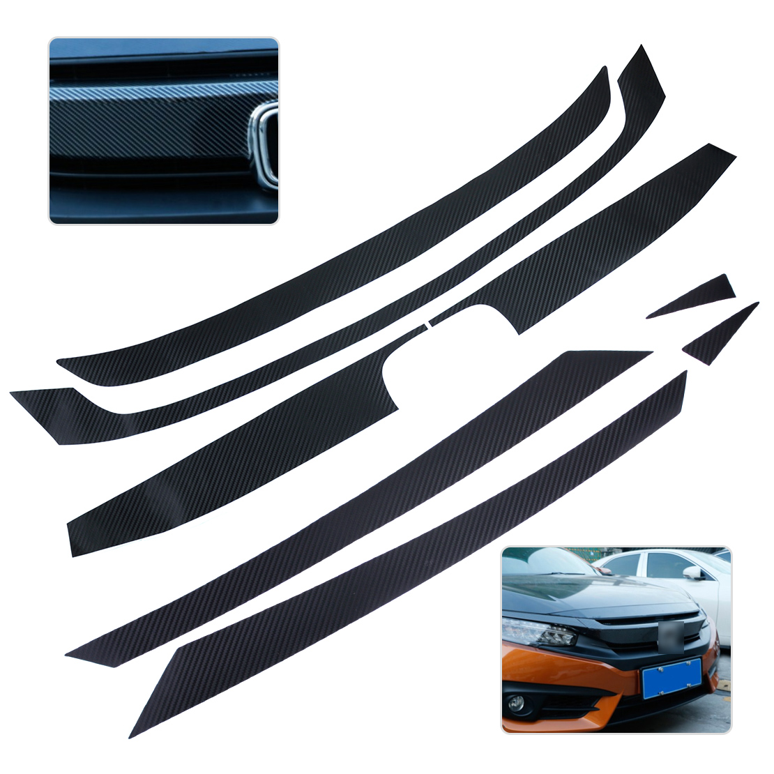 CITALL New Carbon Fiber Texture Bumper Grille Grill Decor Decal Sticker Trim Protector for Honda Civic 2016 best top selling new stylish decal carbon fiber skin sticker for xbox one console